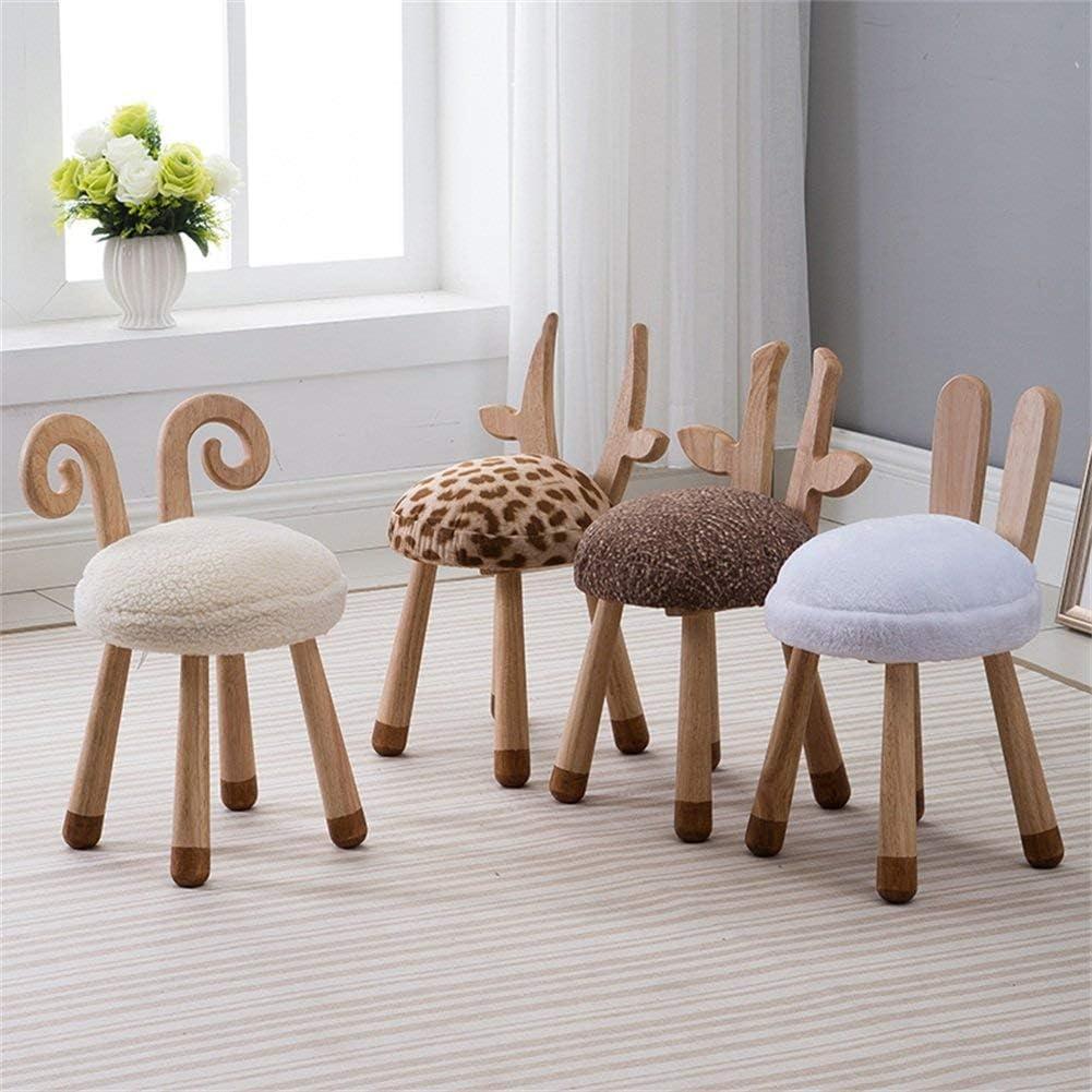 WEIZI Tabouret créatif en Bois Massif Tabouret de Designer pour Enfant avec mobilier de bébé Chaise Amovible et Lavable Tabouret Amusant pour Animaux, 30x51x36cm (Couleur: A) 3-c