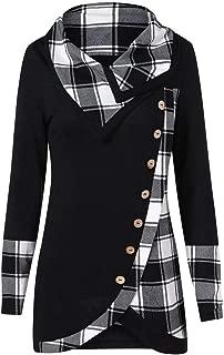 COPPEN Women Long Sleeve Blouse Turtleneck Tartan Tunic Sweatshirt Pullover Tops