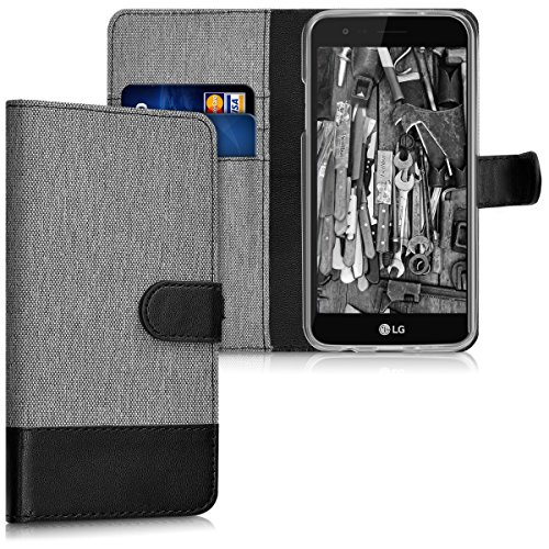 kwmobile Wallet Hülle kompatibel mit LG K4 Dual (2017) - Hülle Kunstleder mit Kartenfächern Stand in Grau Schwarz