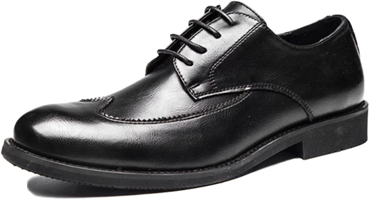 Snfgoij Brogues for Men Wide Fit Slip on Schnürschuhe Business Spitz Herrenschuhe Geschnitzte Business-Schuhe