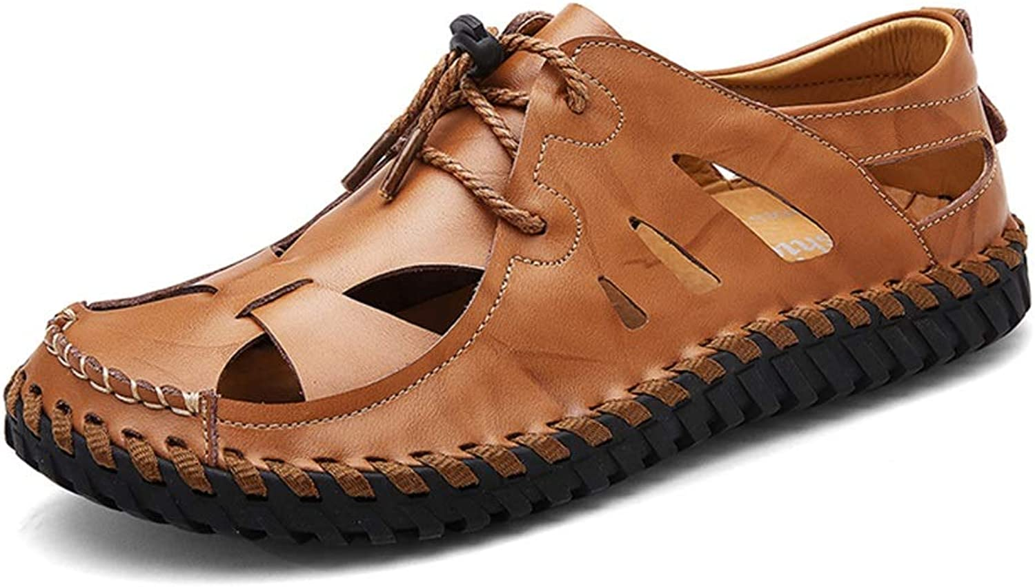 ChengxiO Sandals Men's Leather Tide shoes 2019 New Summer Korean Version Of The National Wind Casual shoes Men's Leather Sandals Soft Cow Leather (color   Brown, Size   265mm)