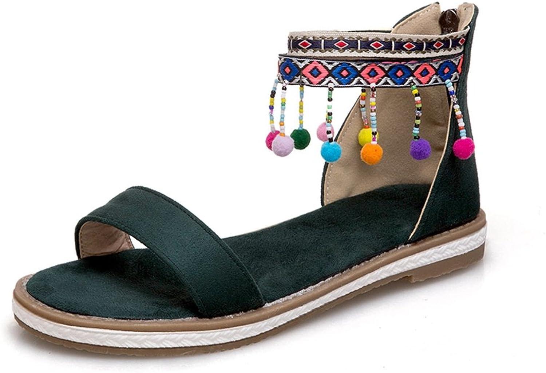 GIY Women's Bohemian Fringe Tassels Flat Sandals Open Toe Comfort Zipper Roman Summer Beach Dress Sandals