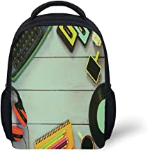 iPrint Kids School Backpack Indie,Eighties Style Objects Over Wooden Table Typewriter Cassettes Record Headphones Image,Multicolor Plain Bookbag Travel Daypack