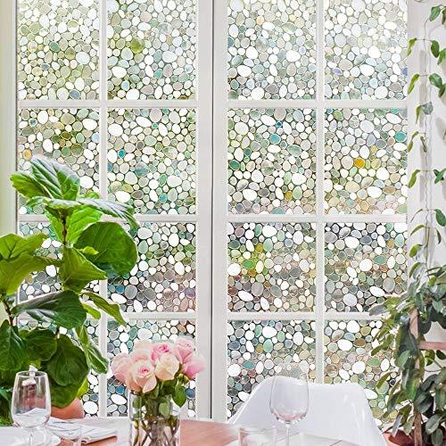 YSHUO Fensteraufkleber 3D No Glue Fensterfolie SichtschutzglasFenster Tür Kiesel Dekorative Wohnküche
