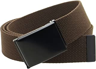 "Canvas Web Belt Flip-Top Black Buckle/Tip Solid Color 50"" Long 1.5"" Wide"