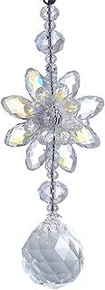 H&D Clear Hanging Crystal Ball Prisms Flower Fengshui Ornament Suncatcher Rear View Mirror Car Charm Decor