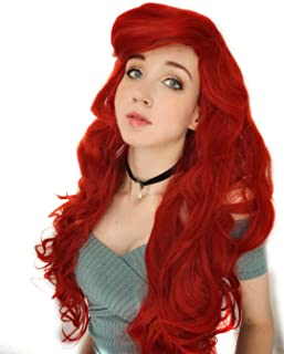 Probeauty Mermaid Hair Wig Long Curly Wavy Red Cosplay, Red, Size One Size