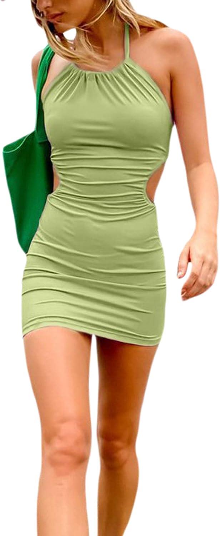 AISLUBXM Women Sexy Bandage Halter Dress Tied Neck Hollow Out Backless Slim Fit Short Y2K Dress Clubwear Beachwear Summer