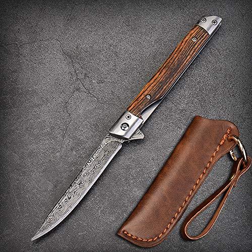 Eil Klappmesser Scharfes Taschenmesser mit Holzgriff. Survival Einhandmesser mit Flipper & Kugellagern, Jagdmesser aus Edelstahl (Muster - Spitzes Messer)