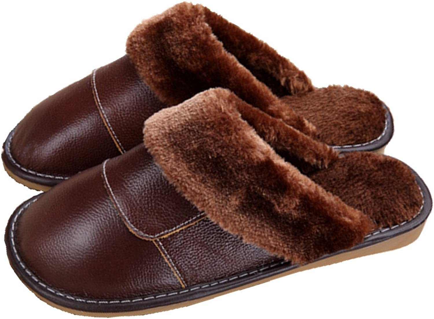 SAMSAY Unisex Genuine Leather House Slippers Warm Soft Plush Fleece Lined Sandals shoes