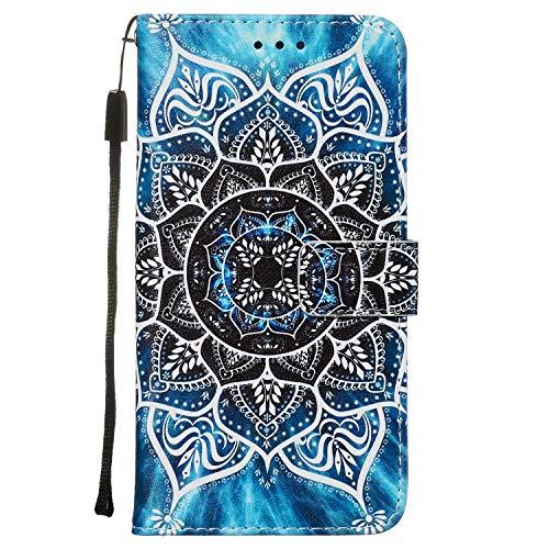 Nadoli Leder Hülle für Huawei P40 Pro,Bunt Mandala Blumen Malerei Ultra Dünne Magnetverschluss Standfunktion Handyhülle Tasche Brieftasche Etui Schutzhülle