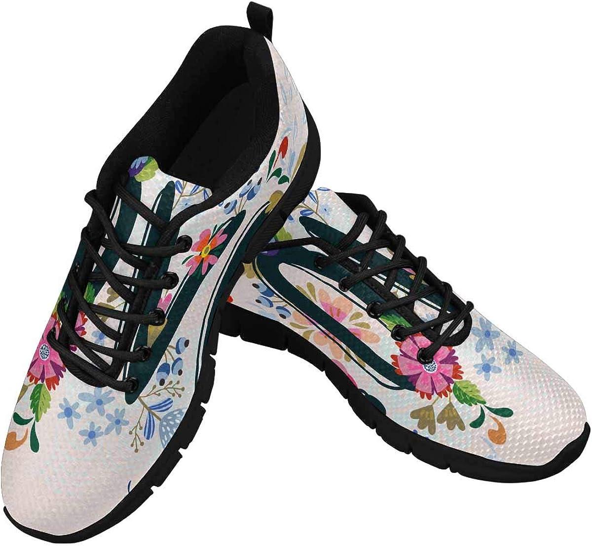 INTERESTPRINT Love Flowers Women's Lace Up Breathable Non Slip Sneaker