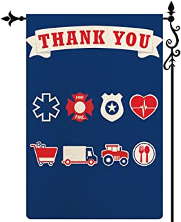 Coskaka Thank You First Responders Garden Flag, Police Law Fire Offices Vertical Double Sided Blue Rustic Farmland Burlap ...