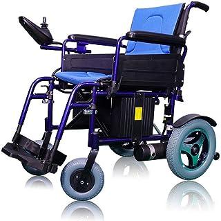 SLRMKK Silla de Ruedas Plegable portátil, Silla de Ruedas eléctrica, Scooter discapacitado para Ancianos Silla de Ruedas automática portátil pequeña Inteligente Plegable, Azul