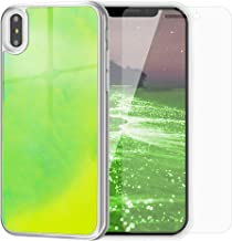 SanLead iPhone Case Quicksand Liquid Noctilucent iPhone case Shock-Absorbing Fall-Resistant and Leak-Proof TPU&PC for iPhone [Noctilucent] (for iPhone X/XS, Yellow & Green)