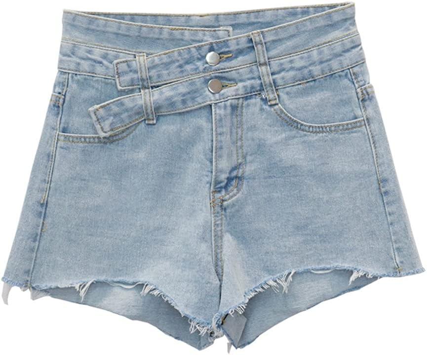 PDGJG Summer Women High Waist Denim Shorts Women Sexy Hot Loose Thin Tight Denim High Waist Shorts for Women (Color : Blue, Size : L-Code)