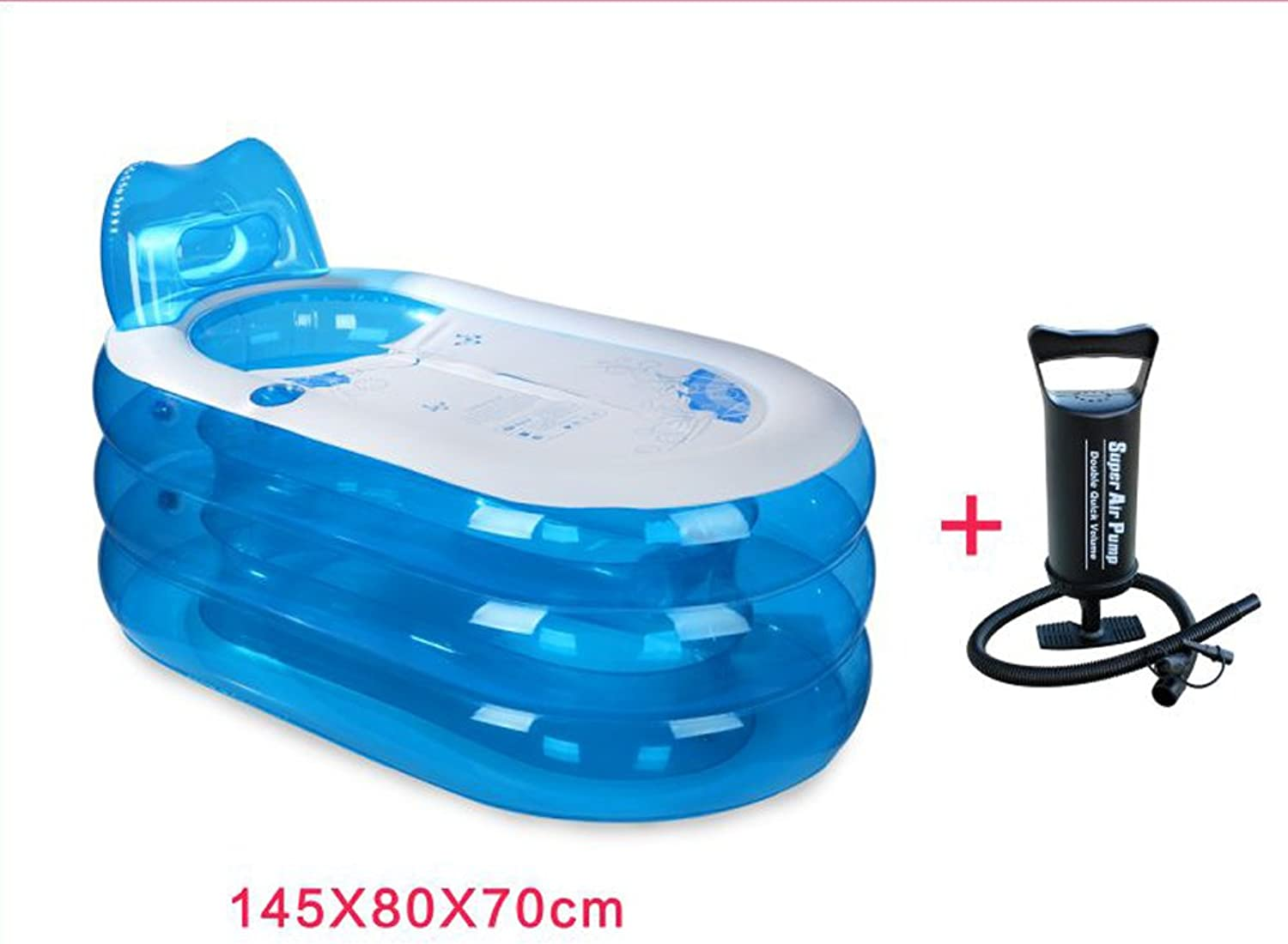 MDMMBB Folding tub adult household bathroom body can sit lie large thick plastic simple inflatable bath bath (color   Manual air pump, Size   S)
