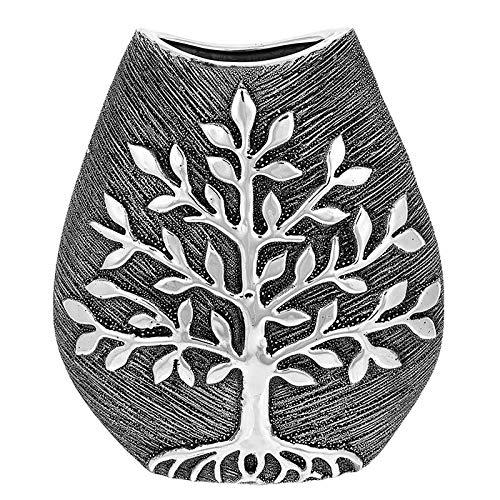 SC Gifts Moderner moderner Baum des Lebens Gießmetall Silbergrau Keramik Breite Vase Geschenk