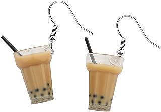 bobauna Boba Bubble Resin Pearl Milk Tea Dangle Earrings Funny Party Jewelry Gift For Women Girls