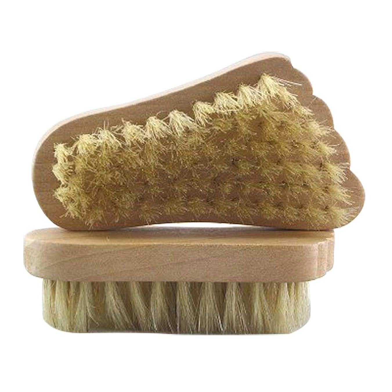 不正不器用キャンプフットブラシ ボディブラシ 浴用ブラシ 豚毛 天然毛 足軽石の足爪ブラシ 角質除去 2個