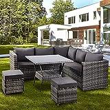 BTM Garden <span class='highlight'>Rattan</span> <span class='highlight'>Furniture</span> 8 Pieces <span class='highlight'>outdoor</span> Patio <span class='highlight'>Furniture</span> Conner Sofa with Dining Table 2 Stools (Grey)