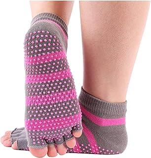 Wenquan - 3 pares de calcetines para mujer, diseño de rayas con cinco dedos, Y064-blau, talla única