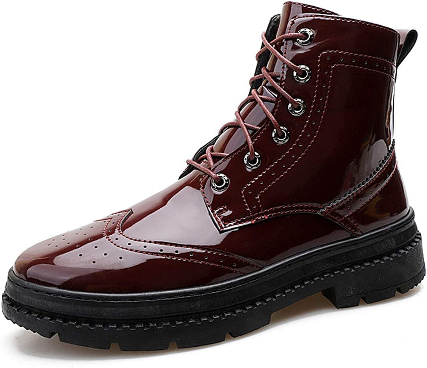 Men'S shoes, British High-Top Men'S shoes Fall Breathable Leather shoes Mens Patent Leather Glossy Casual shoes Fashion Casual shoes,B,41