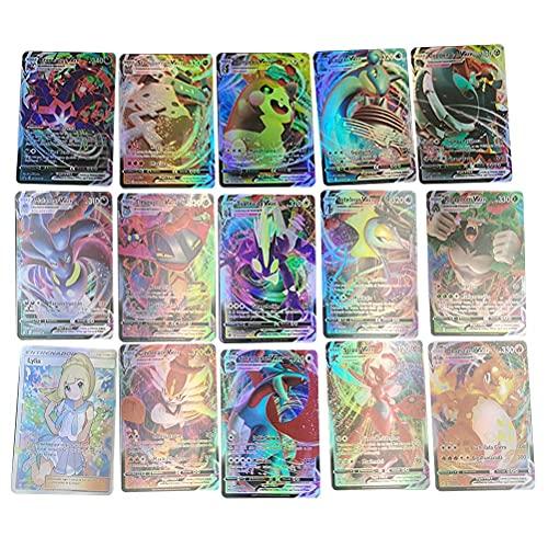55pcs Cartas Pokemon Español, Cartas Pokemon Vmax,Tarjetas Flash de Pokemon,Juego de Tarjetas de Pokémon,Colección de Cartas Raras Barajas de Regalo Juego de Cartas coleccionables para niños