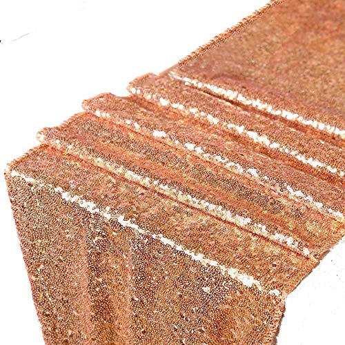 LQIAO Glitzy Rose Gold Sequins Table Runner- Sparking Wedding Table Runners for Party/Birthday/Wedding/Banquet/Christmas Decoration,30x180cm,(Rose Gold)