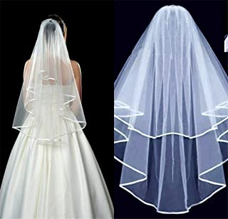 White Bride Veil Bridal Wedding Veils 2 Layer Ribbon Edge Cathedral Elbow With Comb 0530 yynha (Color : Ivory)