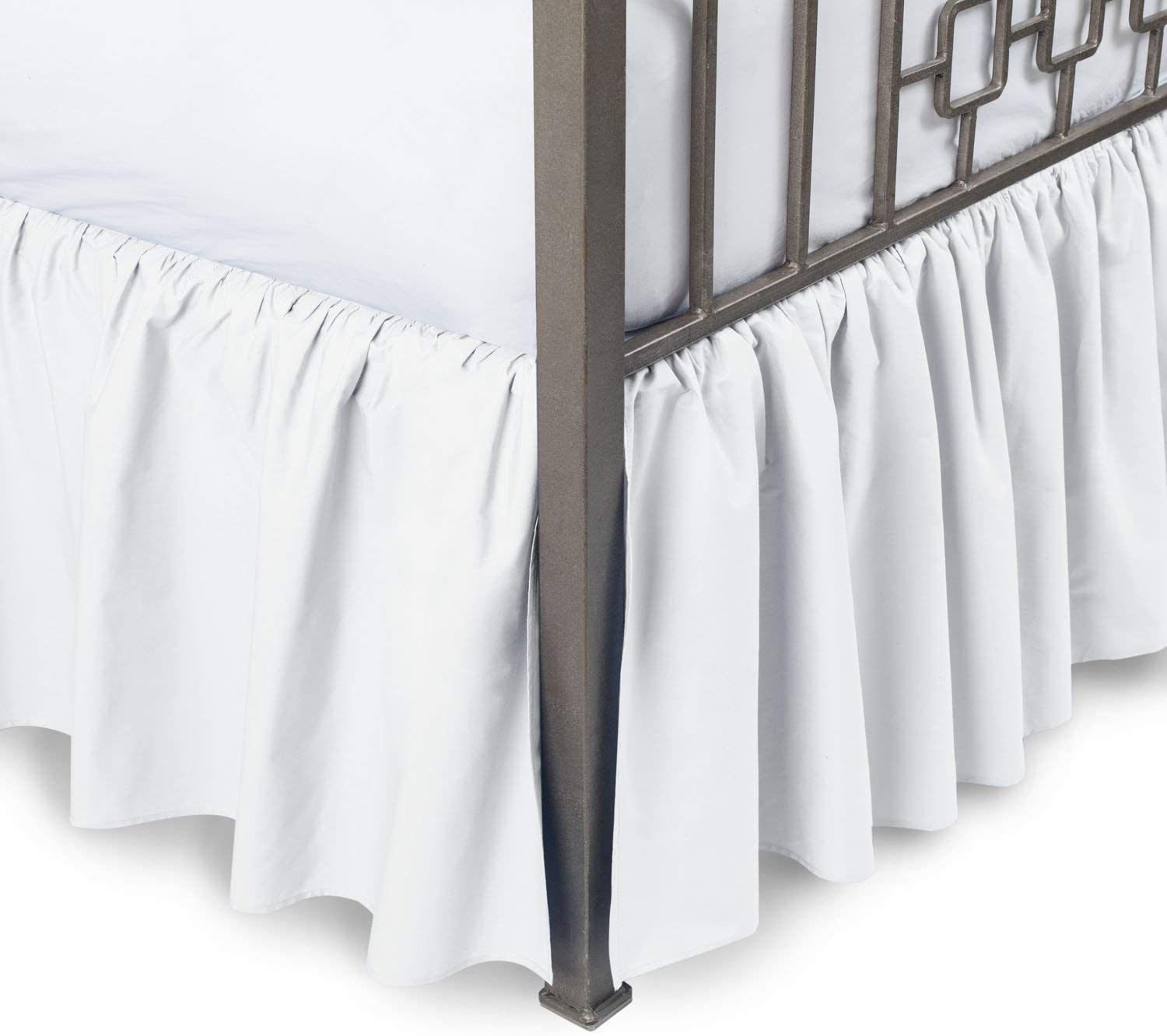 All Size US Egyptian Cotton Solid White-Navy Blue Valance//Bedskirt Two Tone