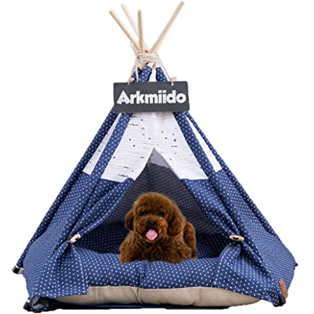 Pet Teepee Dog & Cat Bed with Cushion- Luxery Dog Tents & Pet Houses with Cushion & Blackboard (Airplane)