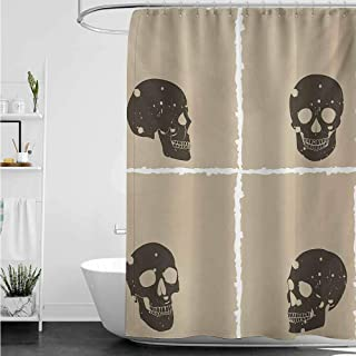 home1love Bathroom Shower Curtain,Grunge Skull Figure on Murky Flat Framework Halloween Crossbones Spooky Monster Image,Metal Build,W108x72L,Tan Dark Taupe