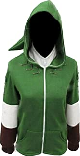 Ya-cos The Legend of Zelda Link Hooded Hyrule Warriors Zipper Coat Jacket Green