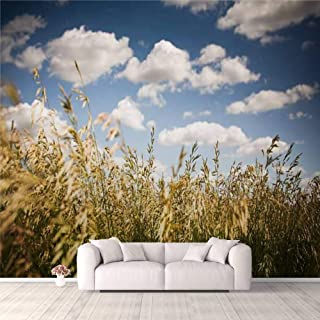 Modern 3D PVC Design Removable Wallpaper for Bedroom Living Room Field of Wheat and Clouds Wallpaper Stick and Peel Wall S...