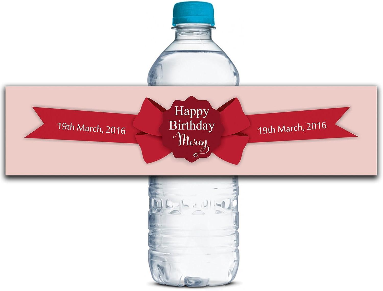 Personalisierte Wasserflasche Etiketten Selbstklebende wasserdichte Kundenspezifische Geburtstags-Aufkleber 8  x 2  Zoll - 50 Etiketten B01A0W0048  | Am praktischsten