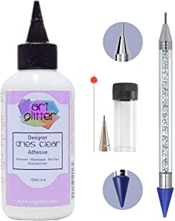 Art Glitter Glue 4 Ounce with Art Glitter Glue Fine Metal Tip and Pixiss 6-inch Jewel Picker Setter Pickup Tool - Clear Craft Glue Adhesive Set