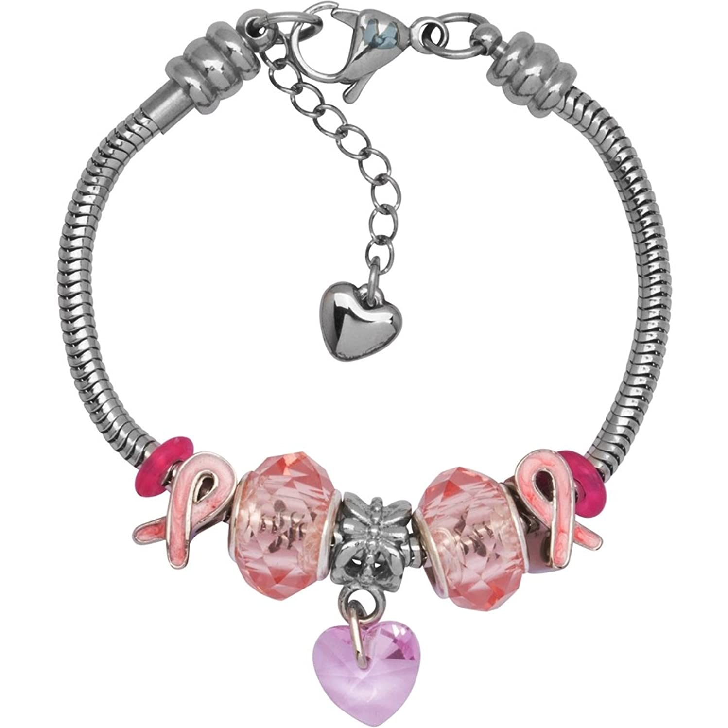 European Charm Bracelet with Bead Charms for Women, Stainless Steel Snake Chain, Pink Awareness Ribbon Heart