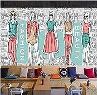 Bosakp 壁紙3D英語アルファベット衣料品店廊下背景壁画楽屋ショッピングモールカスタム壁紙 280X200Cm