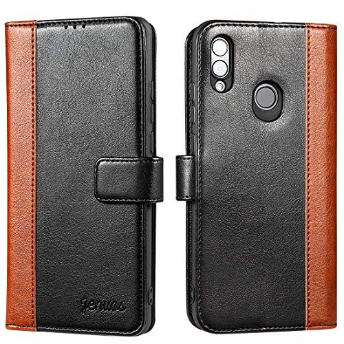 Jenuos Coque Huawei P Smart 2019, Portefeuille Housse étuis en Cuir Flip Phone Cartes et Pochettes Cover pour Huawei P Smart 2019 - Noir (PS9-JG-BK)