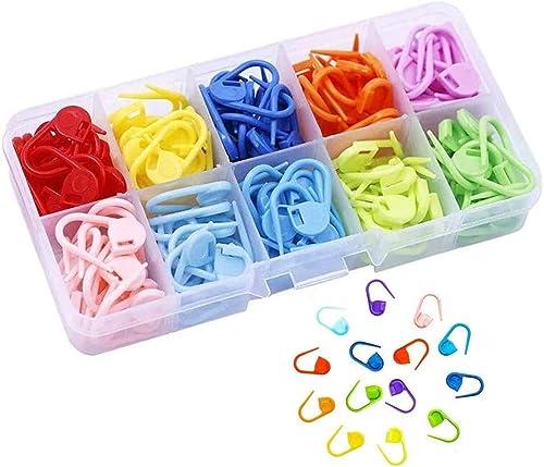 Marcadores Puntada 150 Piezas Marcadores de Puntos de Bloqueo Clip de Puntos de Crochet Con Compartimento Caja para h...
