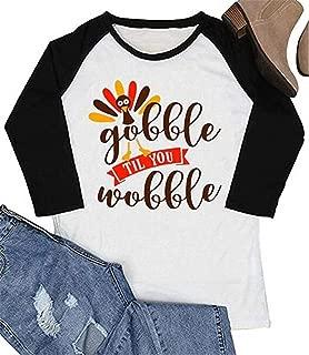 Gobble Til You Wobble Tshirt Women Thanksgiving T Shirt Funny Turkey Graphic Print Raglan Baseball Tee Tops
