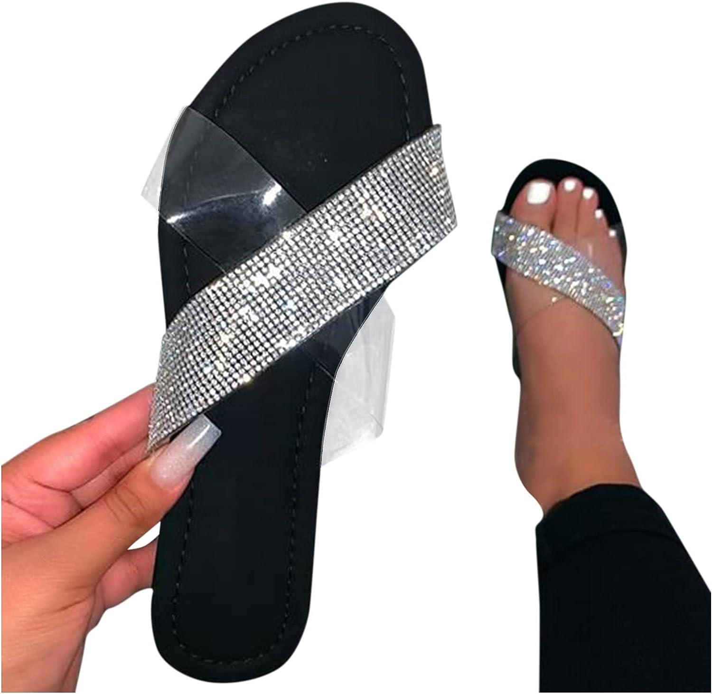 HIRIRI Womens Slide Sandals Slide-on Open Toe Summer Flat Flip Flops Clear Slipper Shower Shoe Beach Sandal