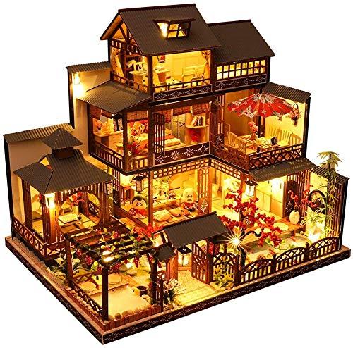 SSDM Kit De Casa De Muñecas En Miniatura para Bricolaje con Muebles, Casa En Miniatura De Madera En 3D con Cubierta Antipolvo Y Movimiento Musical, Kit De Casa De Muñecas En Miniatura