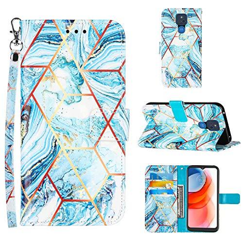 TTNAO Funda para Motorola Moto One 5G Ace Cartera Tapa Ranura patrón Cuero PU Carcasa Función Soporte Absorción Golpes Case+1*Protector de Pantalla(Costuras mármol Azul)