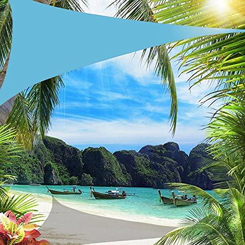 Wsaman 3mx3mx3m Dreieckig Sonnensegel mit 95% UV-Verstopfung, Sonnensegel Sonnenschutz Rechteckig Wasserabweisend, für Terrasse, Balkon,Blue