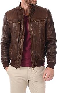 LEATHER FARM Men's Lambskin Leather Bomber Motercycle Jacket
