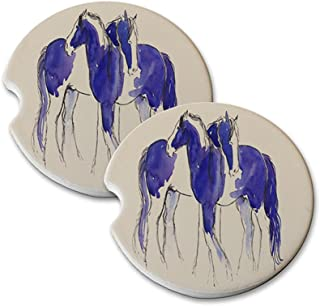 Natural Sandstone Car Drink Coasters (set of 2) - Piebald Gypsy Cobs in Purple and Blue Abstract Horse Art by Denise Every