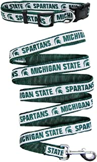 Pets First Michigan State Spartans Nylon Collar and Matching Leash for Pets (NCAA Official Size Large