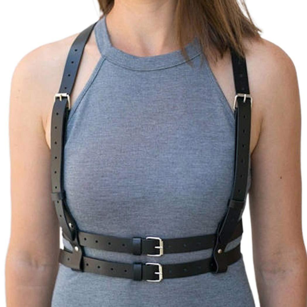 Bodiy Punk Waist Harness Belt Fashion Body Chain Black Goth Rave Adjustable Body Jewelry for Women and Girls